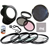58mm Multi-Coated 7 Piece Filter Set Includes 3 PC Filter Kit (UV-CPL-FLD-) And 4 PC Close Up Filter Set (+1+2+4+10) For Olympus M.Zuiko 40-150mm f/4.0-5.6 R Micro ED Digital Zoom Lens + Hard Tulip Lens Hood+ Lens Cap + Cap Keeper + MicroFiber Cleaning Cl