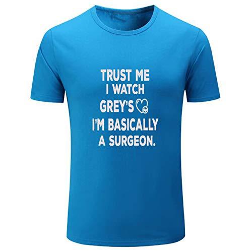 Conquershop Men's Trust Me I Watch It I'm Basically A Surgeon Shirts (Light_Blue,S)