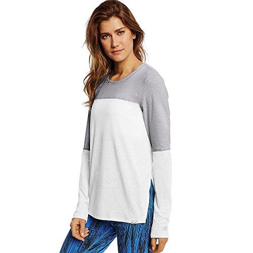 Champion Women's Loose Fit Tee_White/Oxford Grey_XL