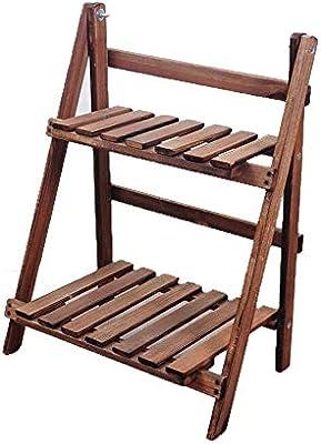 Titular de la Planta de Maceta Escalera de madera de 2 niveles Librería Librería Estantería de pie Estanterías de pared inclinada Estantes de almacenamiento Estante de exhibición de cocina Exhibición: Amazon.es: Hogar