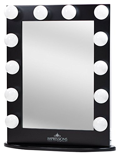 Impressions Vanity Hollywood Iconic Xl Vanity Mirror with Dimmer & Frosted Bulbs, Black