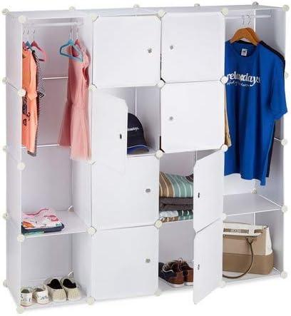18 Scomparti Plastica Sistema a Incastro 145,145x200,3 cm Relaxdays 10021977/_49 Armadio Componibile Bianco