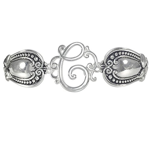 Spoon Handle Style Monogram Initial Silver Tone Magnetic Clasp Bracelet (Letter (Spoon Handle Earrings)