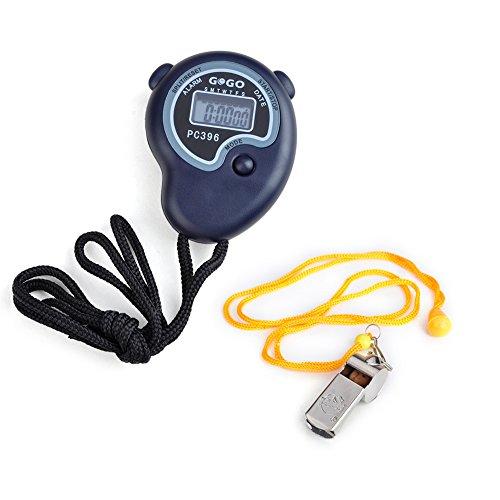 GOGO Electronic Stopwatch Whistle Set, Sport Chronograph Stopwatch + Referee Whistle
