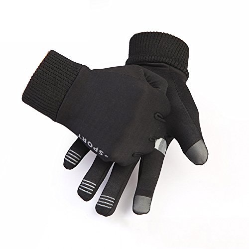 Warm Fleece Winter Running Gloves For Cold Weather Unisex Climbing Running Non-Slip Touch Screen Gloves Windproof Black