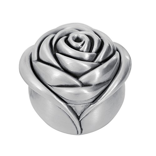 Gift Trinket Box (AVESON Vintage Rose Flower Style Antique Women Trinket Jewelry Gift Box Necklace Earrings Ring Storage Case, Sliver, Small)