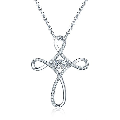 Cross Necklace for Women-YL Dancing Diamond Sterling Silv...