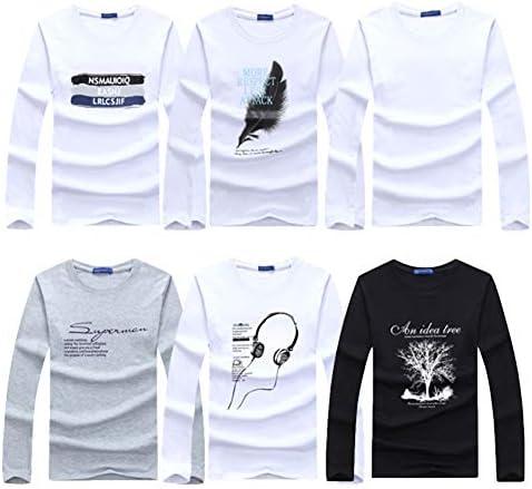 (ハビー)メンズ 長袖 6枚セット Tシャツ ロンt セット まとめ買い カジュアルプリント 綿 プレゼント M-5L 大きいサイズ (19タイプ)