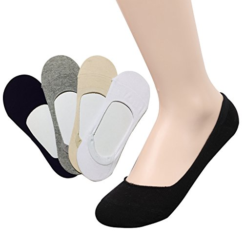 TETIBA Women's Premium Cotton No Show Liner Socks with Double Elastic band & Non slip Silicone Patch Pack of 4 Pairs (shoe 8-11, 4 pack_each 1 color)