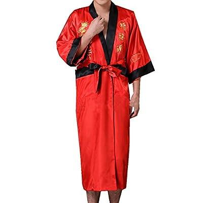 QYQS Men's Chinese Dragon Pattern Embroidered Kimono Yukata Robe Two-sided Wear