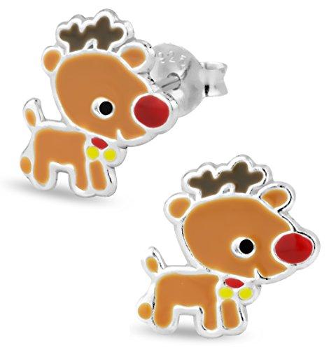 925-Sterling-Silver-Rudolph-Reindeer-Christmas-Stud-Earrings-for-Girls