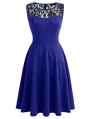 Dressystar Women Vintage Cocktail Party Dresses Sleeveless Lace Neckline Black Royal Blue XXXL