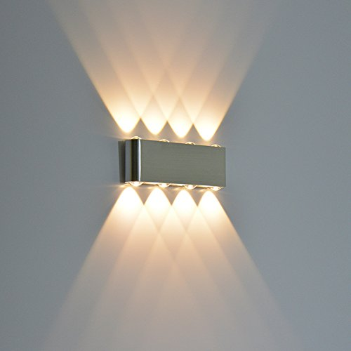 Wall Scone Light, Alotm 8W LED High Power up Down Spotlight Modern Aluminum Fixture Decorative Lights Lamp for Home, Bedroom, Dinning Room, Restaurant, Bar, Corridor, Theater - AC85-265V (Warm White)