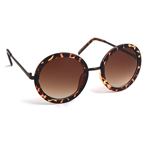 JOOX Women's Retro Round Sunglasses with 100% Uv Protection Lens (Shiny demi brown /Brown gradient, - Large Round Sunglasses Womens