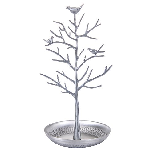 ChezMax Outdoor Antique Birds Tree Stand Jewelry Display Necklace Earring Bracelet Holder Organizer Rack Tower Silver by ChezMax