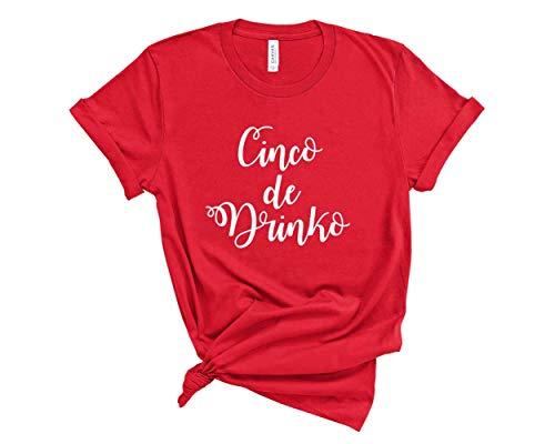 (Cinco De Drinko Shirt. Cinco De Mayo Shirt. Unisex T-Shirt. (Red, XX-Large))
