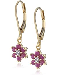 18k Yellow Gold Plated Sterling Silver Genuine Ruby and Diamond Accent Flower Dangle Earrings
