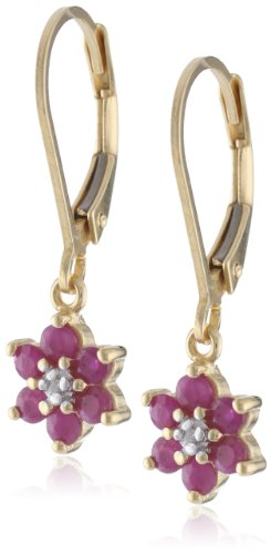 18k Yellow Gold-Plated Sterling Silver Ruby Flower Dangle Earrings