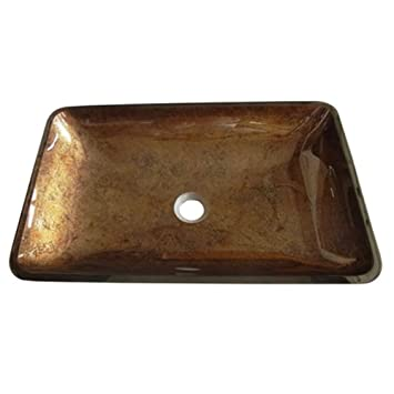 Kingston Brass EVR2214FB Fauceture Roma Rectangular Copper Glass Vessel Sink,  22 Inch X 14