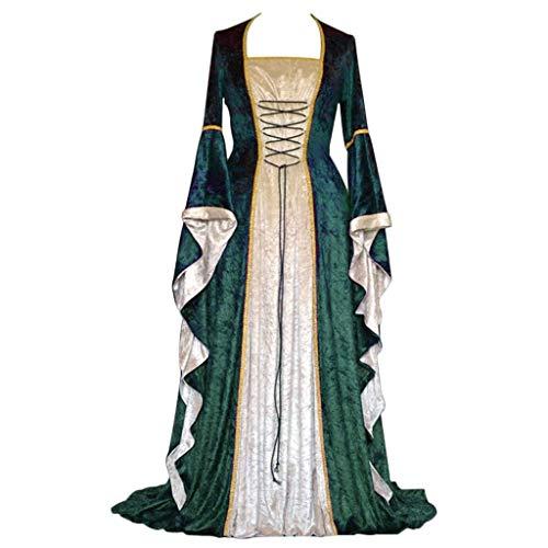 CosplayDiy Women's Medieval Renaissance Retro Gown Cosplay Costume Dress (XXXL, T-Green)