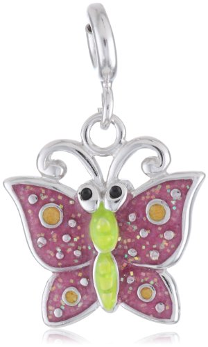 Sterling Silver Epoxy Butterfly Charm