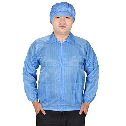 Women Men Blue Elastic Cuff Patch Pockets Anti Static ESD Lab Smock Coat L By Fuxell