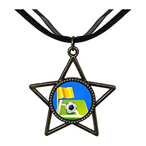 Chicforest Bronze Retro Style UEFA Euro soccer ball with yellow flag Five Pointed Star Pendant
