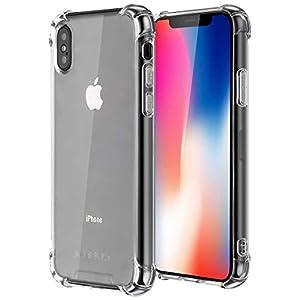 Coque Compatible avec iPhone X, Coque iPhone XS, Jenuos Transparent Silicone Doux Souple Extrêmement Fin Housse TPU Etui…