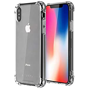 Coque iPhone X, Coque iPhone XS, Jenuos Transparent Doux Souple Extrêmement Fin Housse TPU Silicone Etui pour iPhone XS…