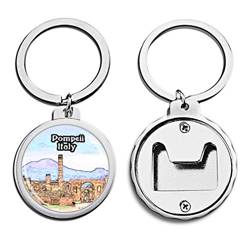 (Italy Bottle Opener Keychain Pompeii Mini Bottle Cap Opener Keychain Creative Crayon Drawing Crystal Stainless Steel Key Chain Travel Souvenirs)