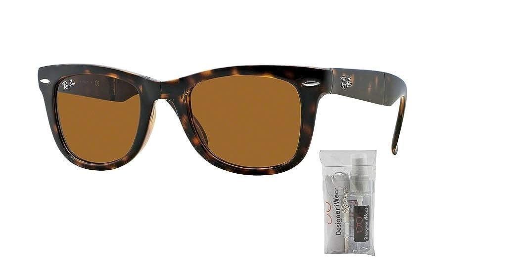 757ac13a6d4 Amazon.com  Ray-Ban RB4105 FOLDING WAYFARER 601 50M Black Green Crystal  Sunglasses For Men For Women  Clothing