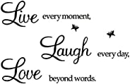 Rertcioph Live Every Moment,Laugh Every Day,Love Beyond Words,Wall Sticker Motivational Wall Decals,Family Ins