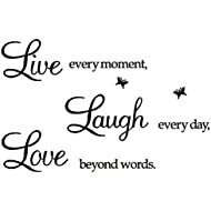 Rertcioph Live Every Moment,Laugh Every Day,Love Beyond Words,Wall Sticker Motivational Wall Decals,Family Inspirational Wall Stickers Quotes