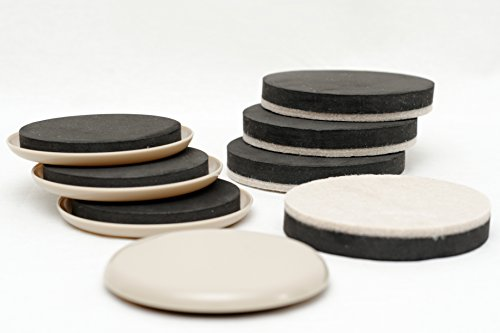 Furniture Movers - 3.5 Inch Width Plastic and Felt Sliders - Variety Pack Moving Pads for Carpet, Hardwood, Linoleum, and Other Hard Surfaces - Set of 8 Reusable Furniture Movers Included
