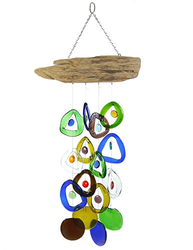 Modern Artisans Recycled Wine Bottle Glass Windchime on Driftwood, American Made (Chime Glass Driftwood)