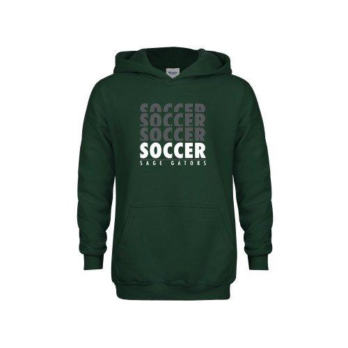 Sage Youth Dark Green Fleece Hoodie Soccer Repeating