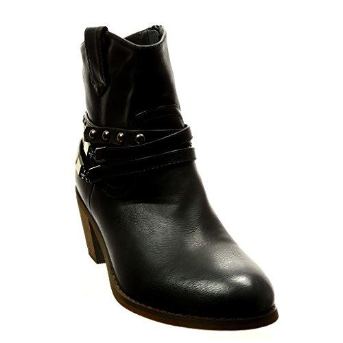 Bottine Intérieur Mode cowboy bloc 5 Noir santiags Chaussure 5 Fourrée boucle femme clouté CM Talon haut chaïnes Angkorly qZR5Exwn