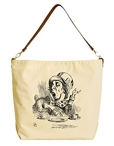 [Vietsbay Women Mad Hatter Beige Print Canvas Tote Bag with Leather Strap WAS_29] (Female Mad Hatter)