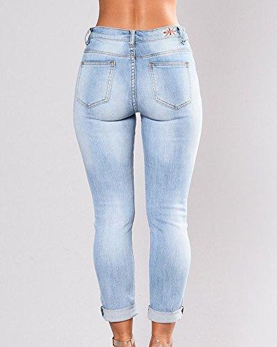 Slim Taille Azur Pantalons Casual Crayon Haute Denim Collant Fleur Femme Jeans Leggings Broderie Dchir Pants 0E6w5xnq