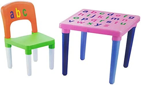 Kids Abc Alphabet Plastic Table And Chair Set Children Toddlers