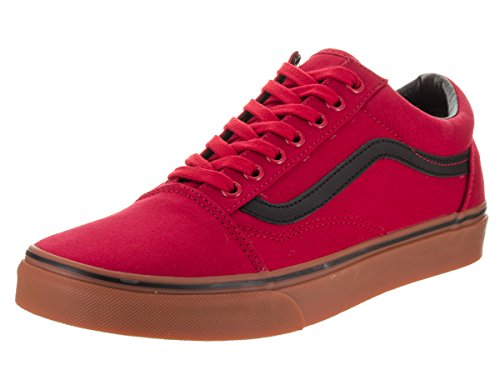 Vans Unisex Old Skool (Gum) Racing Red/Black Skate Shoe 9.5 Men US/11 Women (Unisex Racing Shoes)