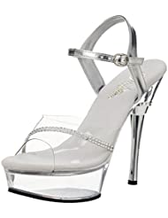 Summitfashions 5 1/2 Inch Sexy Prom Shoes Stiletto Heel Platform Sandal With Rhinestones Clear