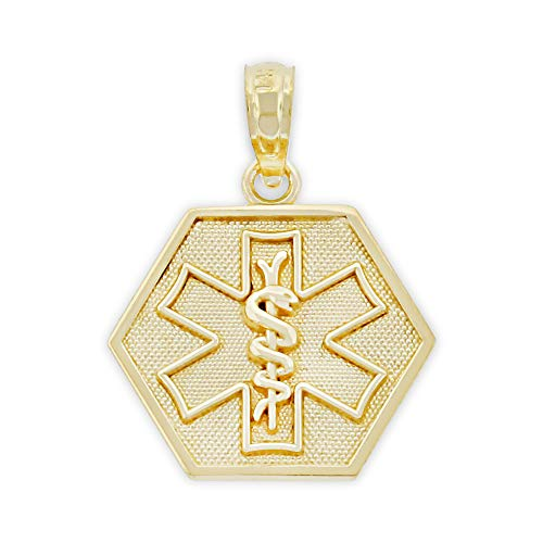 Charm America - Gold Caduceus Medical ID Charm - 10 Karat Solid Yellow Gold