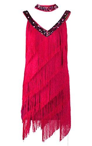 Sexy Tassel Sparkling V-Neck Latin Tango Sala Clubwear Fringe Dance Dress Pleated Fringe