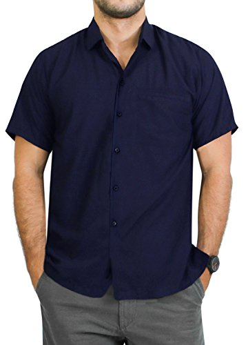 (LA LEELA Rayon Casual Solid Plain Camp Shirt Navy Blue 6XL | Chest 68