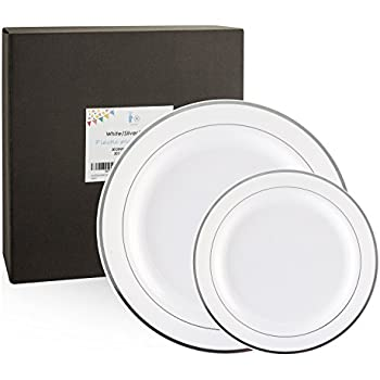 60 Count White Silver Plates Disposable Plastic Plates Plastic Party Plates Includes 30 Dinner  sc 1 st  Amazon.com & Amazon.com: 60 Count White Silver Plates Disposable Plastic Plates ...