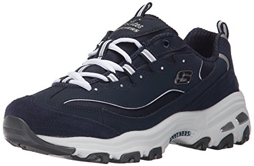 Skechers Sport Women's D'Lites Memory Foam Lace-up Sneaker,Me Time Navy/White,10 M (Skechers Leather Lace Up Sneakers)