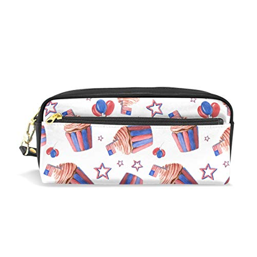 U Life Pencil Bag Pouch Case Pen Holder Box with Zipper for School Boys Girls Kids American Birthday Cup Cake Stars Stripes