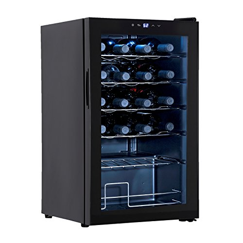 KUPPET BCW-70A 24 Bottles Compressor Freestanding Wine Cooler/Chiller-Red/White Wine, Beer and Champagne Wine Cellar-Digital Temperature Display-Double-layer Glass Door-Quiet Operation