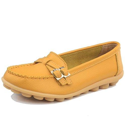 Cior Kvinna Äkta Läder Loafers Tillfällig Moccasin Driv Skor Inomhus Platt Slip-on Tofflor 3.yellow